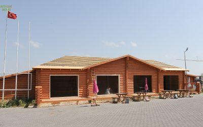 Construction log cabine (log restaurant) in Istanbul-Turkey