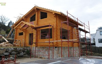Construction of wooden houses in Vienna Austria